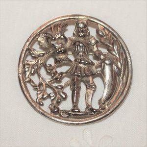 SALE Medieval Style Silver Tone Knight Brooch